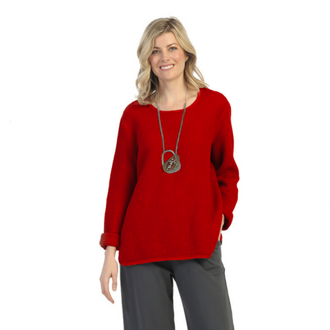 Focus Fashion Waffle Top in Red - C691-RD - Sizes S & XL Only
