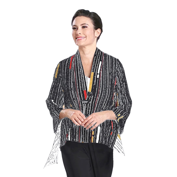IC Collection Lightweight Mixed-Stripe Jacket in Multi - 2302J-BLK
