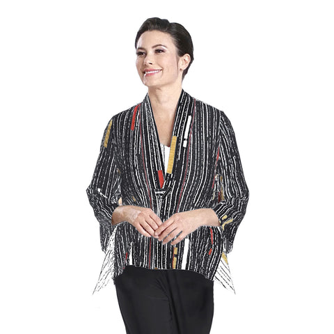 IC Collection Mixed Stripe V-Neck Jacket in Multi - 2302J-BLK