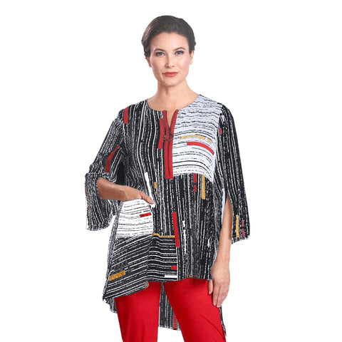 IC Collection Colorblock Stripe High-Low Tunic - 1597T-BLK