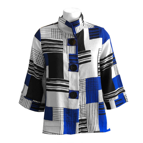 Moonlight Geo-Print Button Front Jacket - 2808-BLU