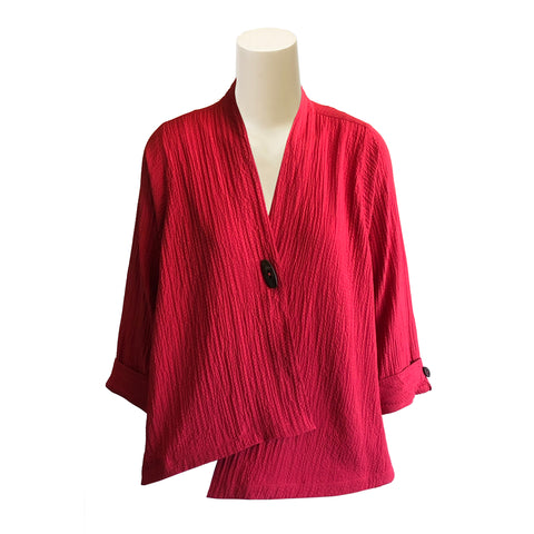 Moonlight by Y&S Solid V-Neck Asymmetric Jacket in Red - 7099-RED