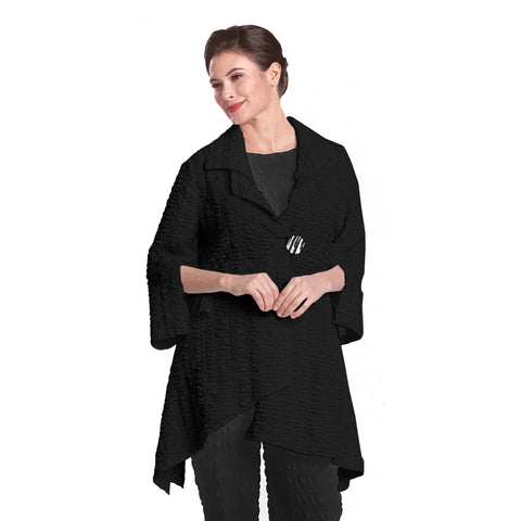 IC Collection Long One-Button Textured Jacket in Black -  2324J-BLK