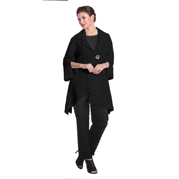 IC Collection Pucker Knit Long Asymmetric Jacket in Black -  2324J-BLK - Size L