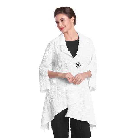 IC Collection Long One-Button Textured Jacket in White - 2324J-WHT