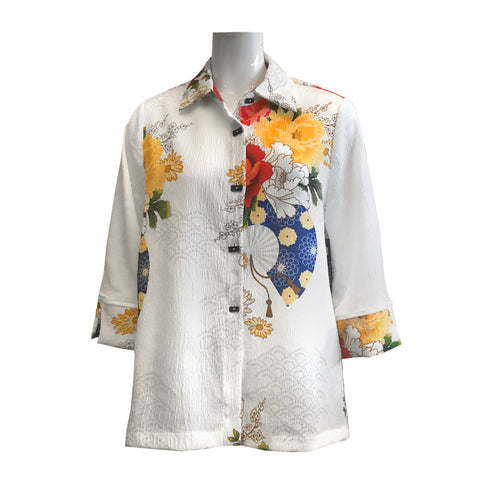 Moonlight by Y&S Floral Print Button Front Blouse in White/Multi - 3080-WT