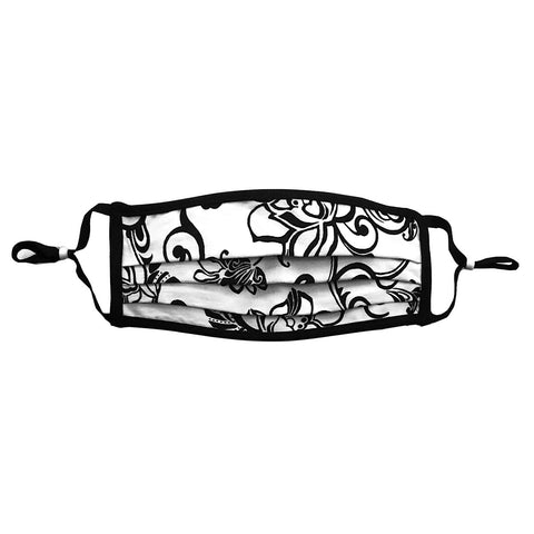 Style-Rite Adjustable Swirl Print Mask in Black & White - M-SWRL-B/W