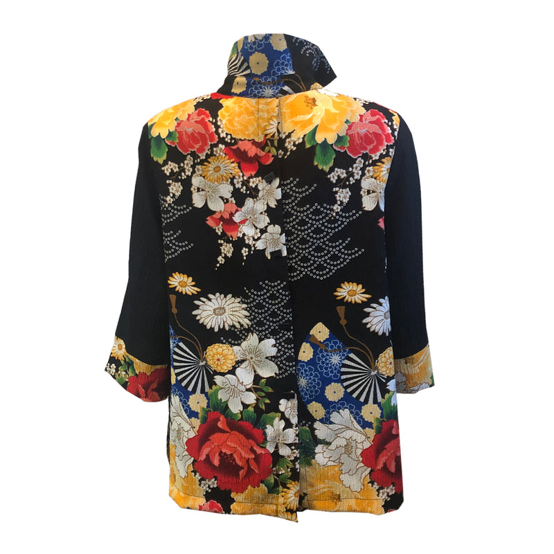Moonlight by Y&S Floral Print Button Front Blouse in Black/Multi - 3080-BLK