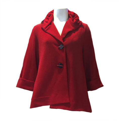 Moonlight  Button Front Asymmetric Jacket in Red - CM113-RD - Sizes M & XXL Only