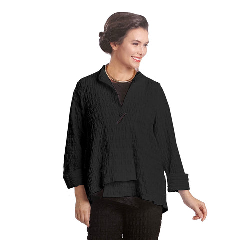 IC Collection Crinkle Textured Asymmetric Jacket in Black -1501J-BLK