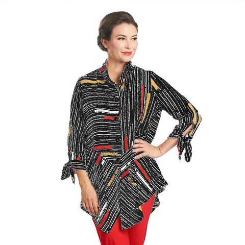 IC Collection Striped Button Front Shirt in Multi - 1571B-BLK