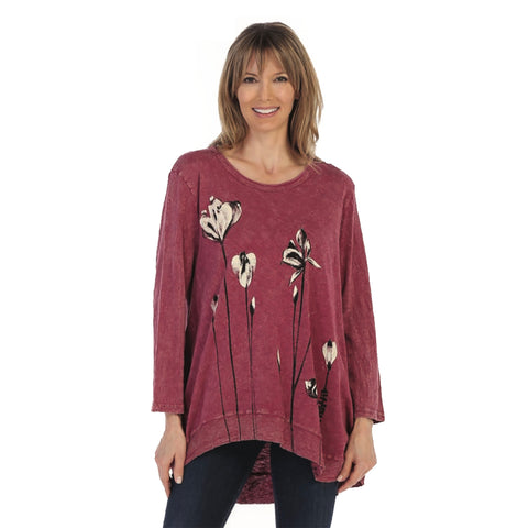 "Jess & Jane ""Ascent"" Mineral Washed Cotton Rib Tunic in Mulberry - M18-1259"