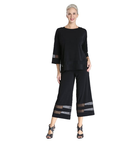 IC Collection Soft Knit Pant with Double Mesh Stripe in Black - 3693P