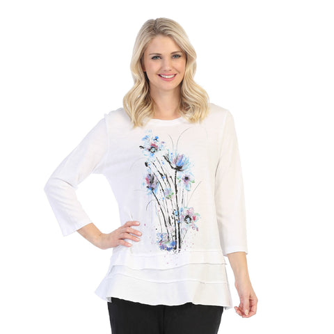 "Jess & Jane ""Felicity"" Floral Print Layered Tunic Top - M66-1452"