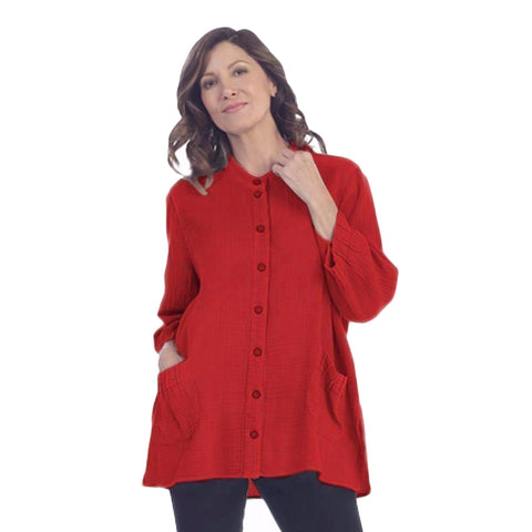 Focus Fashion Textured Cotton Shirt/Jacket in Red - JG001-RED