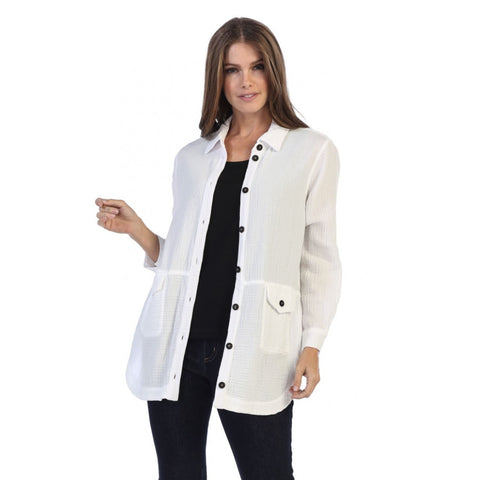 Focus Fashions Textured Knit Shirt/Jacket in White - JG-004-WHT
