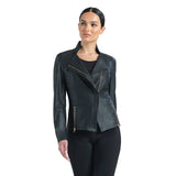 Clara Sunwoo Liquid Leather Zip Jacket in Black - JK161-BLK