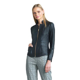 Clara Sunwoo Liquid Leather Zip Jacket in Black ♥ JK163-BLK