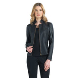 Clara Sunwoo Liquid Leather Zip Jacket in Black - JK163-BLK