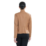 Clara Sunwoo Liquid Faux-Leather Zip Front Jacket in Camel - JK163-CML - Sizes M - 1X