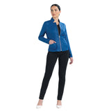 Clara Sunwoo Liquid Leather Zip Jacket in Cobalt - JK163-CBT