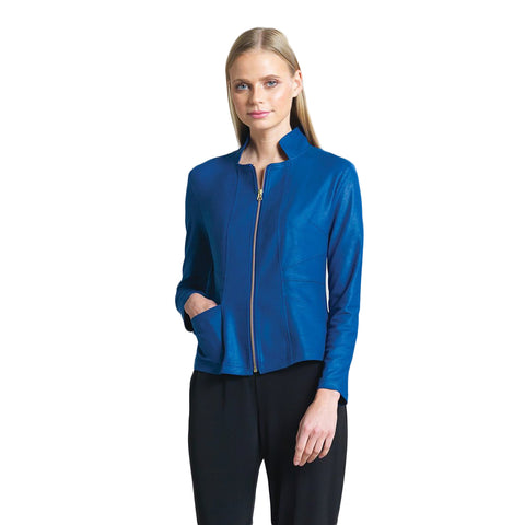 Clara Sunwoo Liquid Leather Zip Jacket in Cobalt - JK163-CBT - Sizes M - 1X