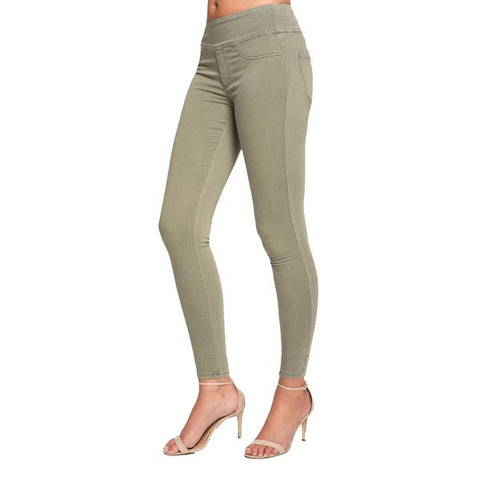 "Lior Paris ""Jane"" Skinny Leg Jeans with Back Pockets in Sage Green - JANE-SG"