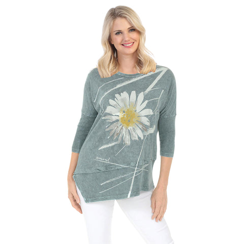 "Jess & Jane ""Chit Chat"" Mineral Washed Cotton Tunic Top in Teal - M41-1387"