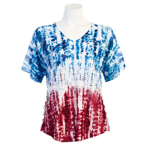 "Jess & Jane ""Americana"" V-Neck Short Sleeve Top in Red, White & Blue - 73-925 - Size 2X Only"