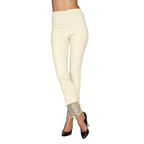 "Mesmerize ""Jewel"" Straight Leg Studded Pant in Ivory - Jewel"