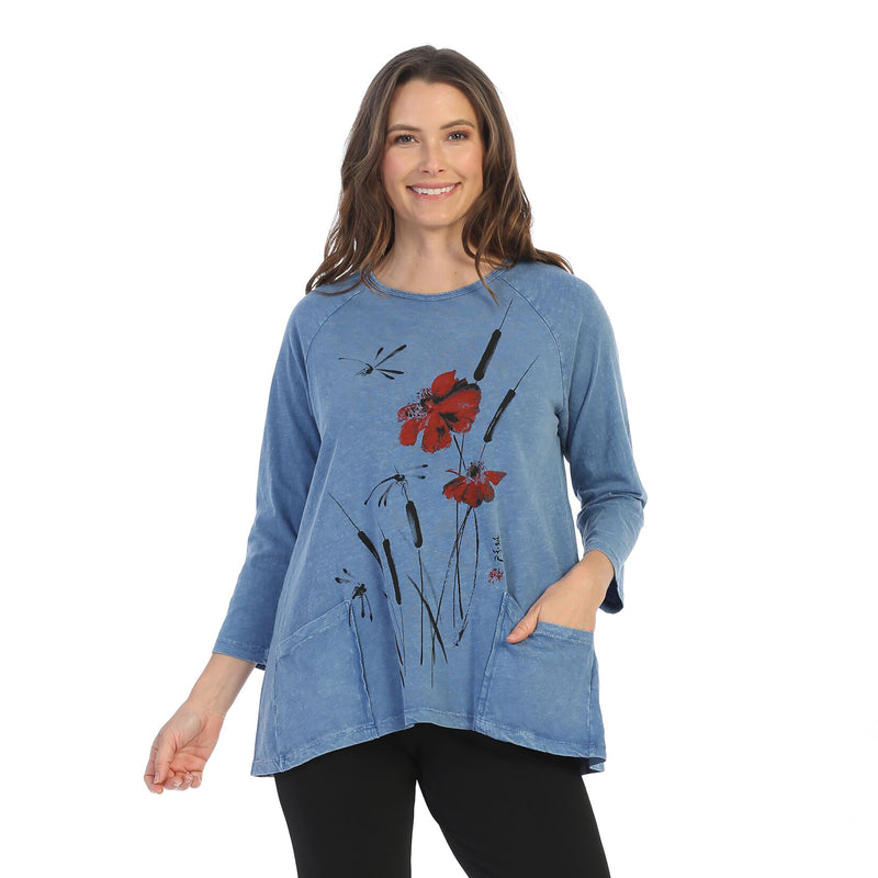 "Jess & Jane ""Camelia"" Mineral Washed Tunic Top M12-1497-MARN"
