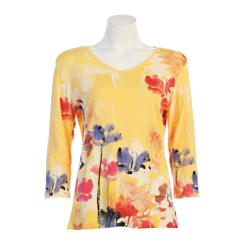 "Jess & Jane ""Watercolor"" Floral Print V-Neck Top in Lemon - 15-1350-LEM"