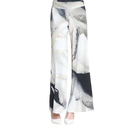 Clara Sunwoo Watercolor Print Palazzo Pant - Taupe Multi- LPTP3 - Sizes XL Only