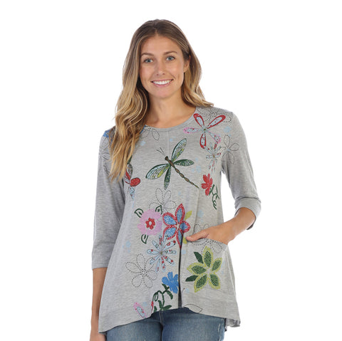 "Jess & Jane ""Good Times"" Blooms & Dragonflies Tunic Top - LT1-1228"
