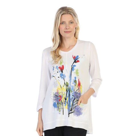 "Jess & Jane ""Two Beauty"" Floral Print High-Low Tunic Top - LT1-1353"