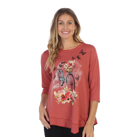"Jess & Jane ""Maybe"" Bicycle, Flowers & Butterfly Asymmetric Tunic Top - LT3-1312"