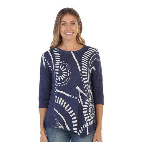 "Jess & Jane ""Travel"" Abstract Print Asymmetric Tunic Top - LT3-1319"