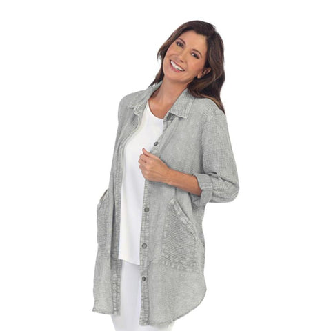 Focus Fashion Long Textured Shirt/Jacket in Grey LW-110-GRY - Sizes S & XL Only