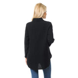 Focus Fashion Button Front Waffle Shirt/Jacket in Black - LW-110-BLK