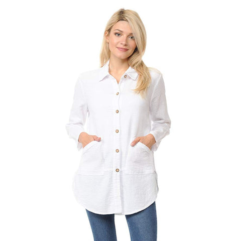 Focus Fashion Textured Shirt/Jacket in White - LW-110-WHT
