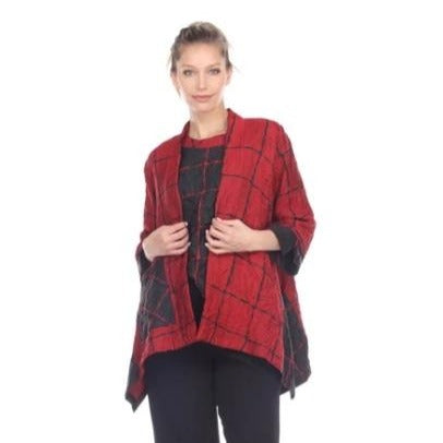 Moonlight Two-Tone Check Print Open Front Jacket & Tank - 3124-RD - Sizes M & L Only