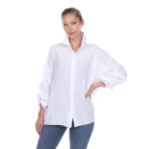 Moonlight Sheer Ruched-Sleeve Blouse in White - 2403