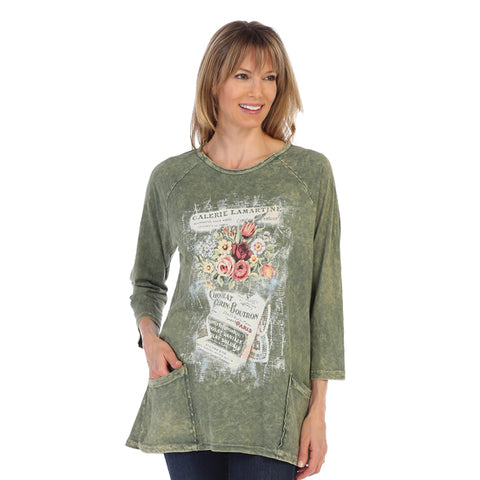 "Jess & Jane ""Galerie"" Mineral Washed Tunic Top in Olive - M12-1282"