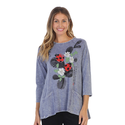 "Jess & Jane ""Hide-and-Seek"" Ladybug Print Mineral Wash Hi-Low Tunic Top - M12-1306"