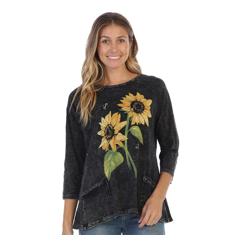 "Jess & Jane ""Sunny Garden""Sunflower Print Mineral Wash Hi-Low Tunic Top - M12-1311"