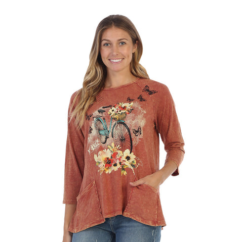 "Jess & Jane ""Maybe"" Bicycle, Flowers & Butterfly Mineral Wash Hi-Low Tunic Top - M12-1312"