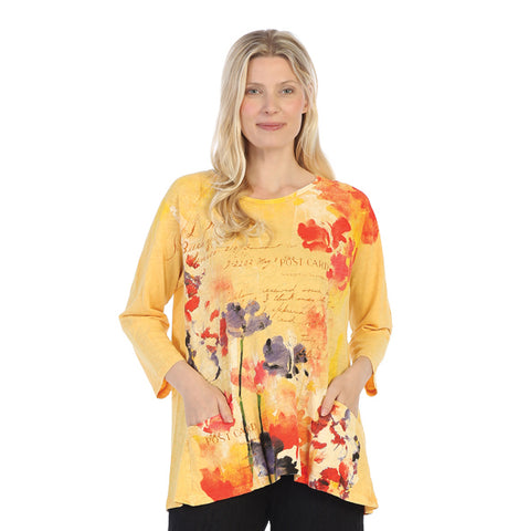 "Jess & Jane ""Watercolor"" Floral Print Mineral Washed High-Low Tunic Top - M12-1350"