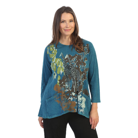 "Jess & Jane ""Kenya"" Mineral Washed Patch Pocket Tunic Top - M12-1516"
