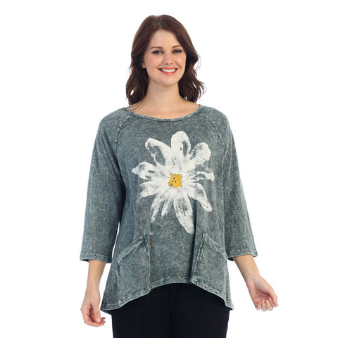 "Jess & Jane ""Daisy"" Abstract Mineral Washed Tunic Top in Teal - M12-1022"