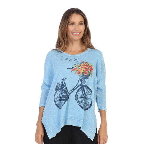 "Jess & Jane ""Bike Ride"" Mineral Washed Rib Sleeve Top in Sky/Multi - M15-1056"